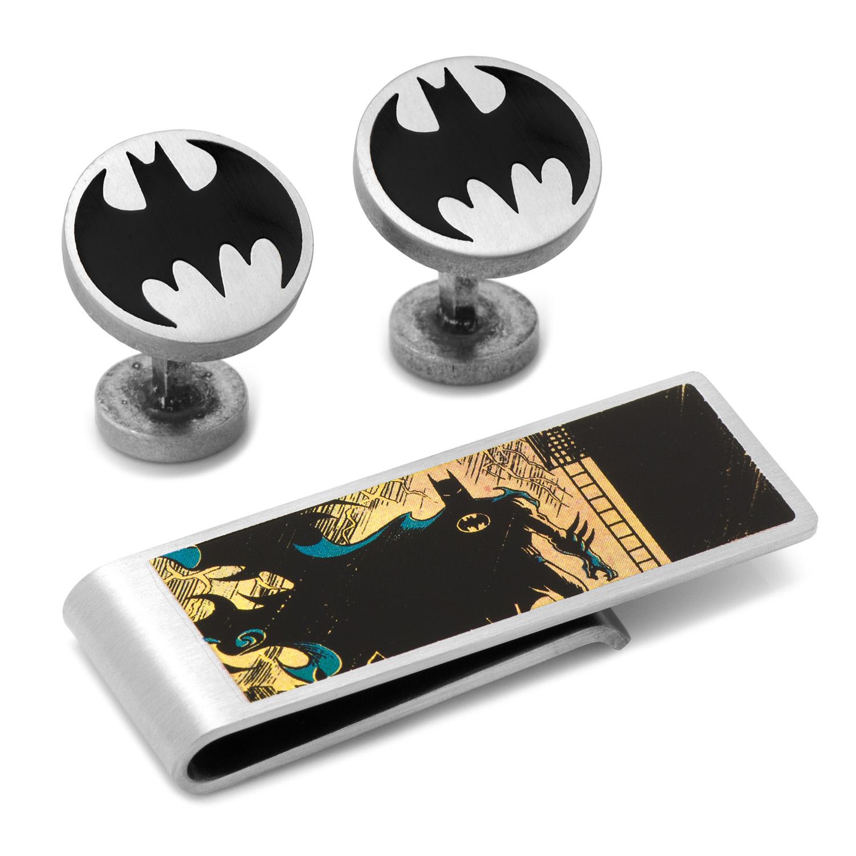 Vintage Silver Batman Cufflinks and Money Clip Gift Set