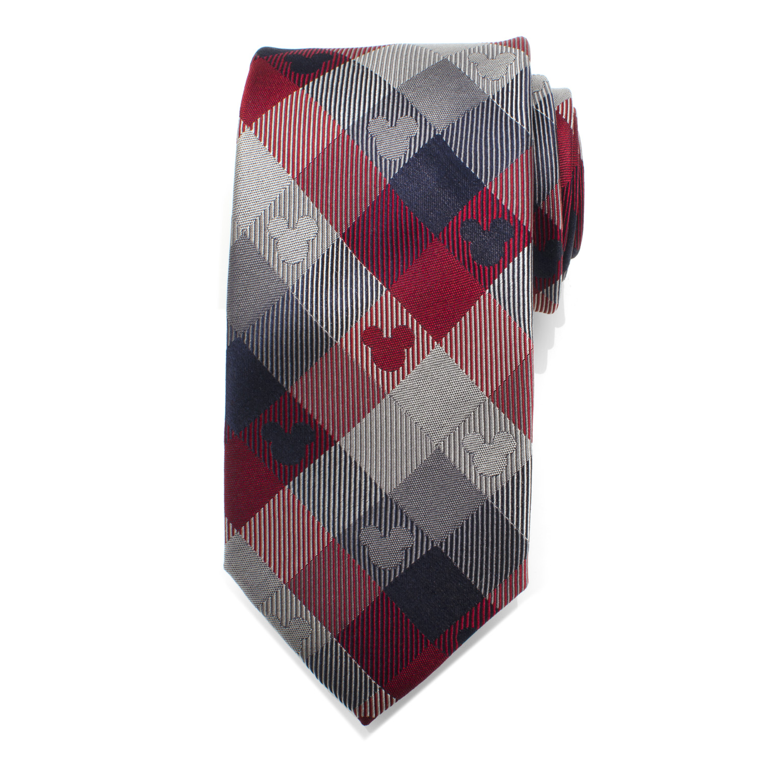 Mickey Mouse Red and Blue Plaid Men's Tie