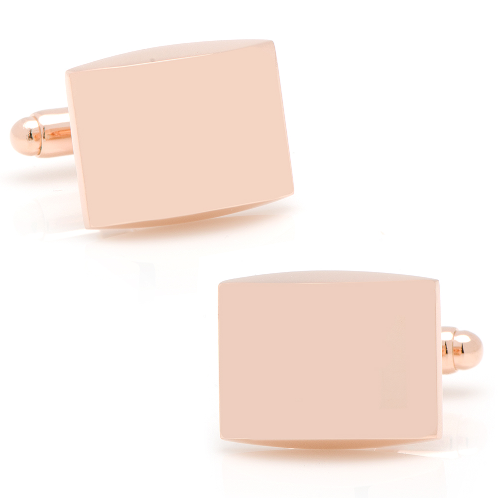 Curved Rose Gold Engravable Cufflinks