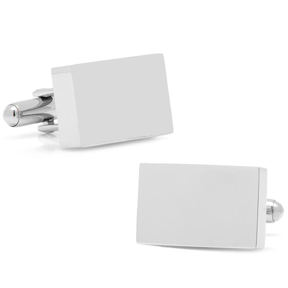 Stainless Steel Silver Block Engravable Cufflinks