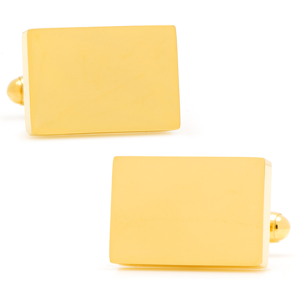Stainless Steel Gold Plated Block Engravable Cufflinks