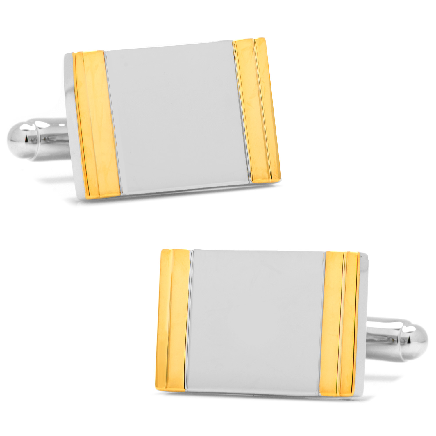 Two Tone Framed Rectangle Cufflinks