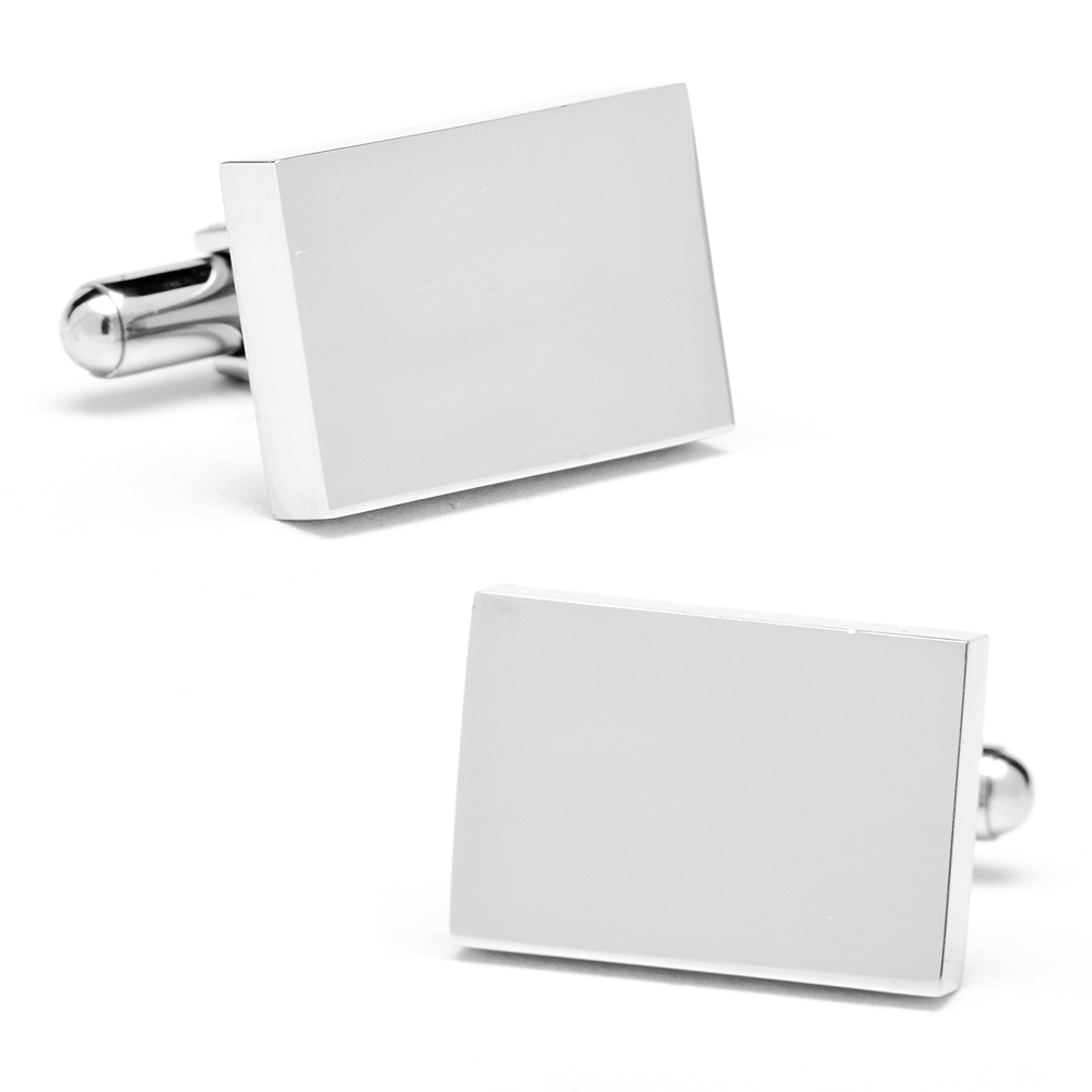 Stainless Steel Rectangle Infinity Engravable Cufflinks