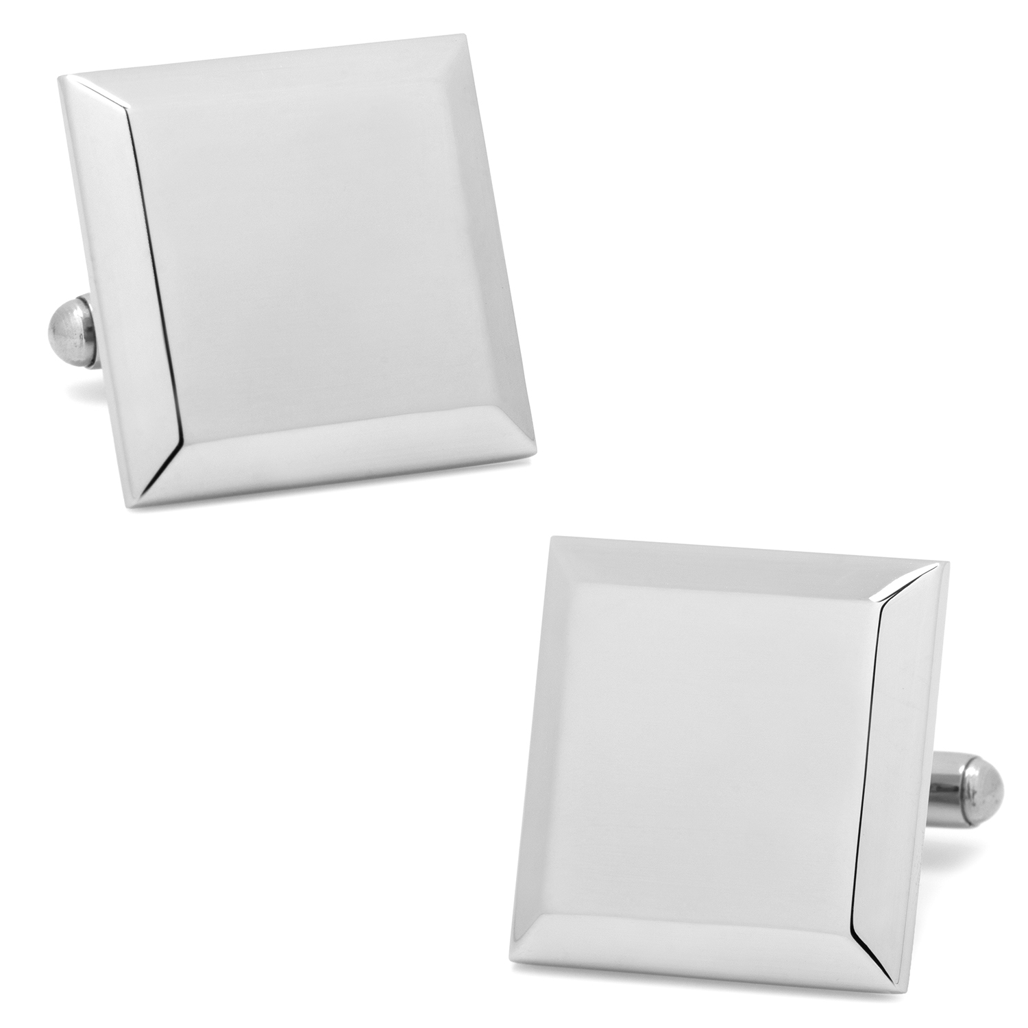 Stainless Steel Beveled Edge Engravable Square Cufflinks