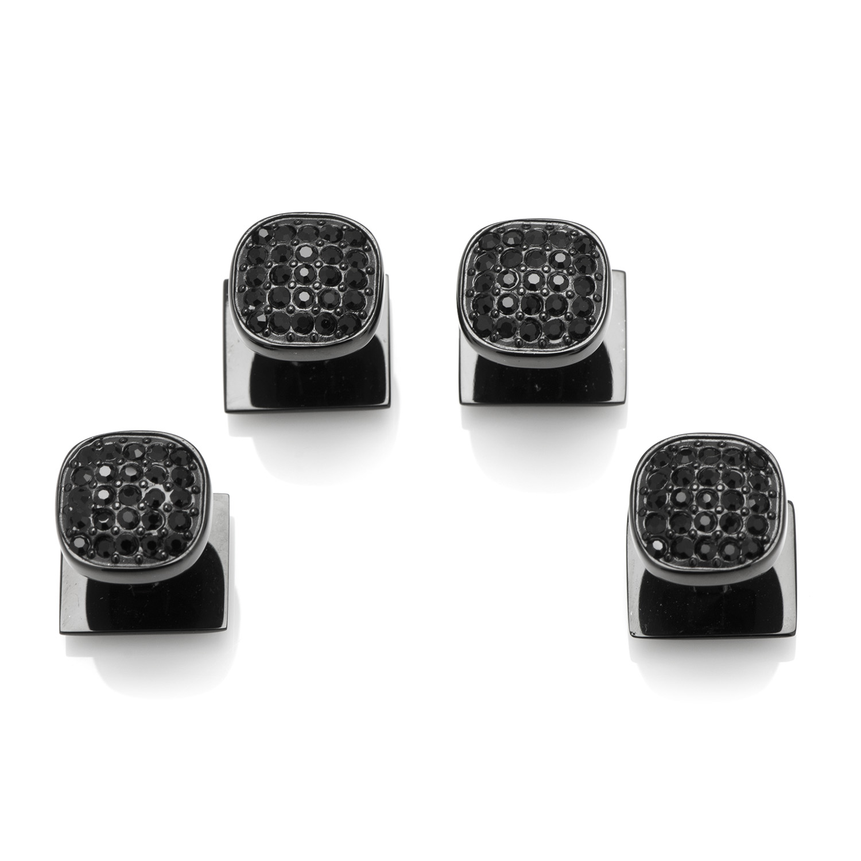 Black Stainless Steel Black Pave Crystal Studs