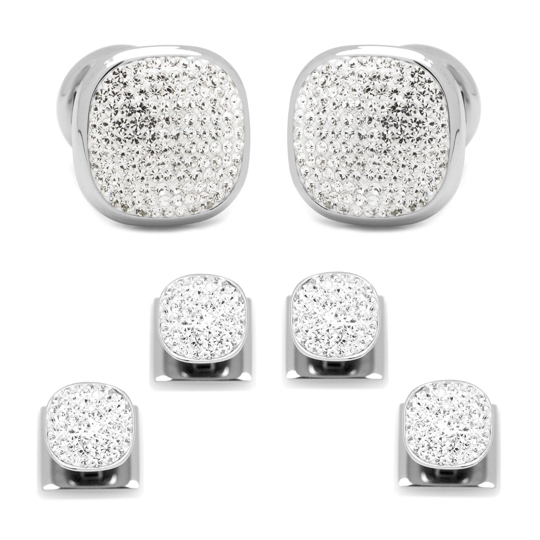 White Pave Cufflinks & Crystal Stud Set