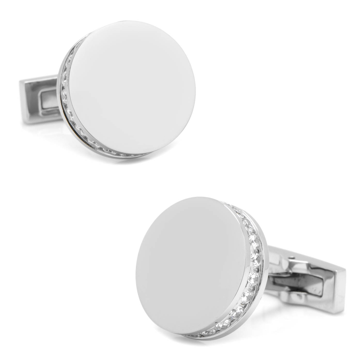 Stainless Steel White Pave Crystal Engravable Cufflinks