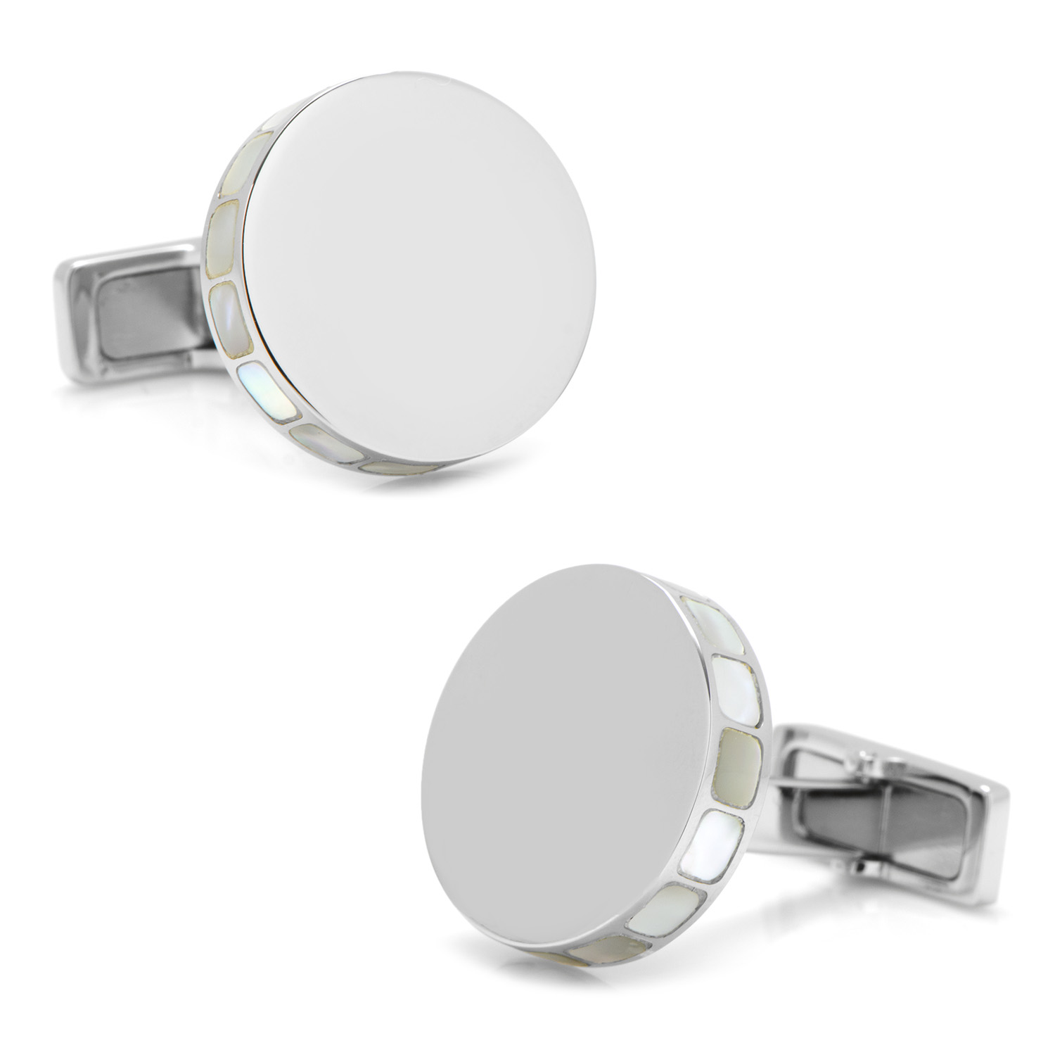 Stainless Steel Mother of Pearl Mosaic Engravable Cufflinks