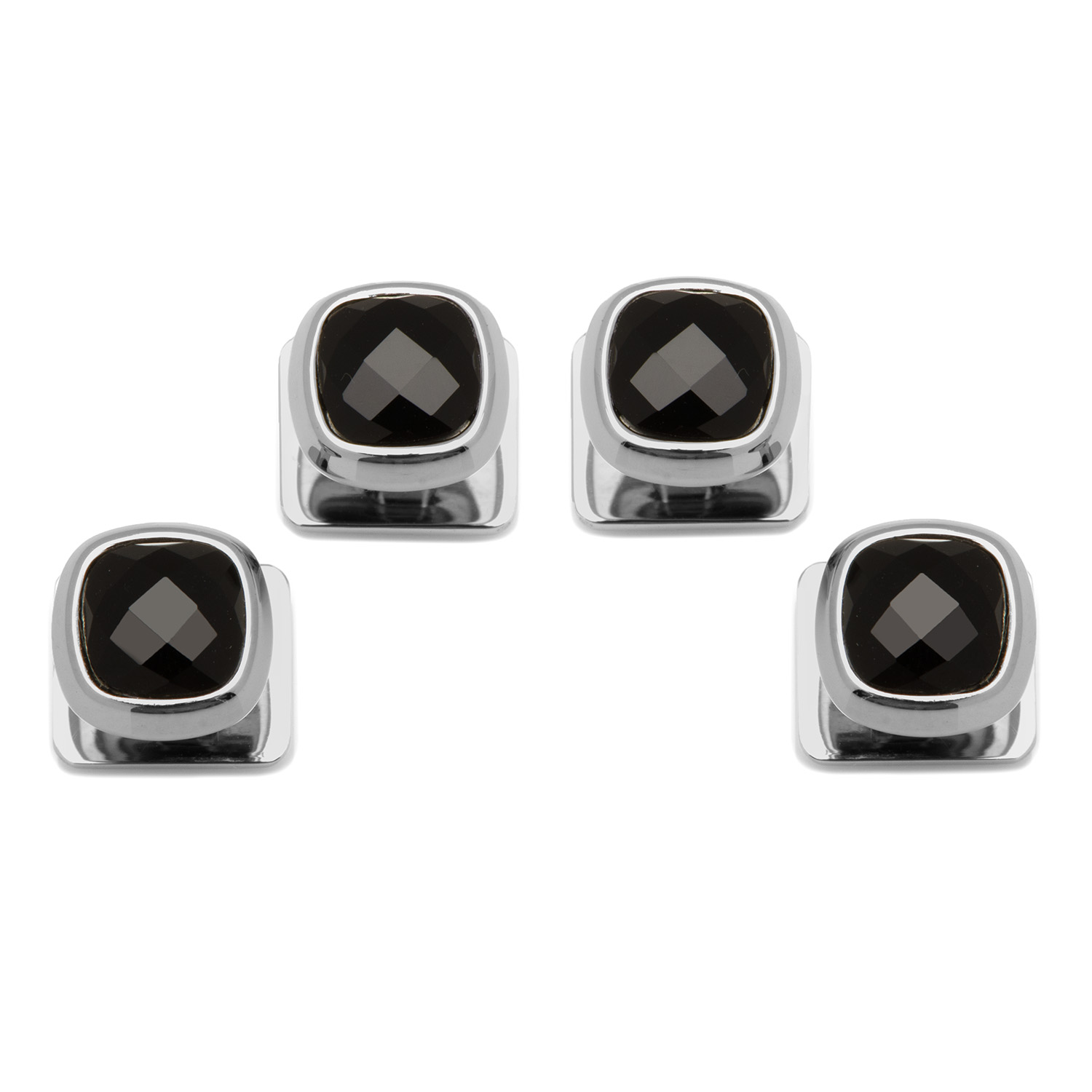 Faceted Onyx Cushion Studs