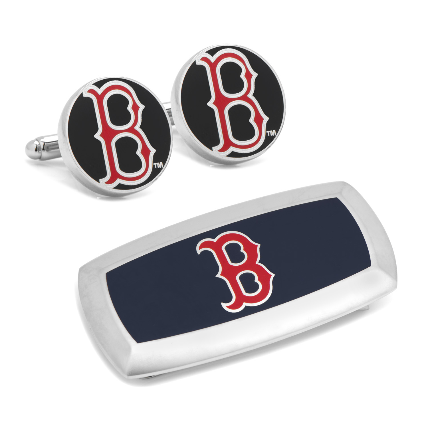 Boston Red Sox Cufflinks and Cushion Money Clip Gift Set