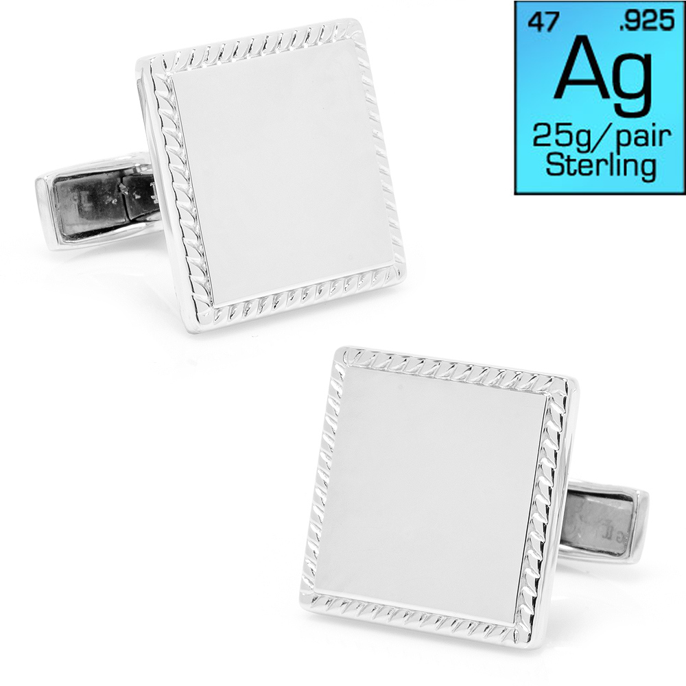 Sterling Silver Rope Border Square Engravable Cufflinks