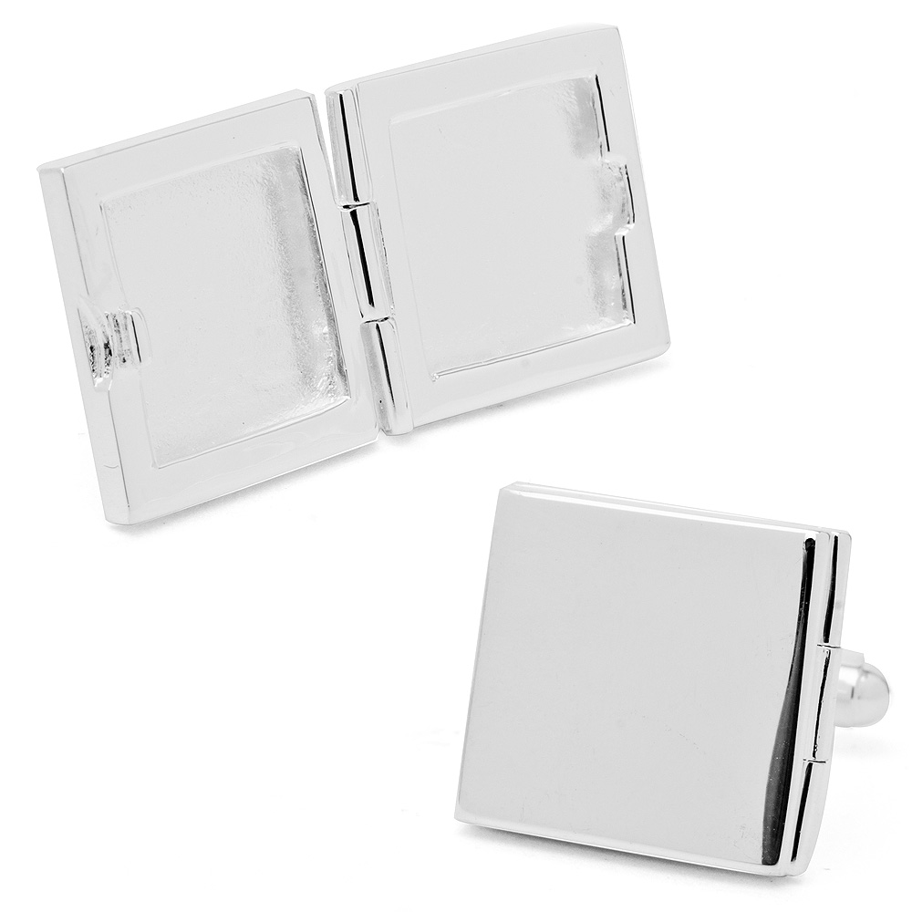 Palladium Engravable Square Locket Cufflinks