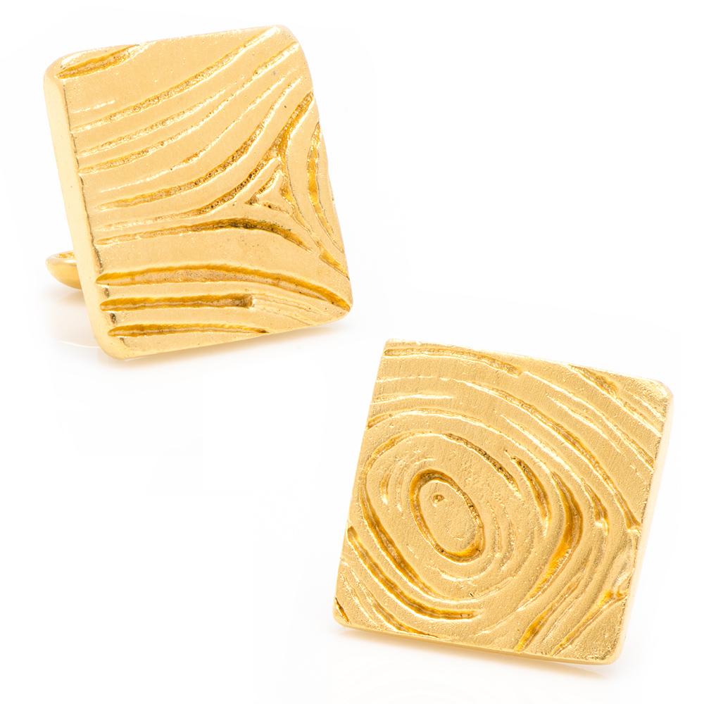 Gold Woodgrain Cufflinks