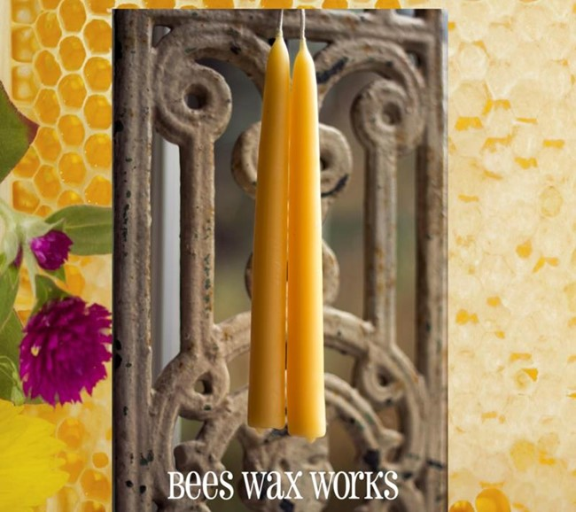 "Artisan Beeswax Tapers/ 2 10"" Tapers"