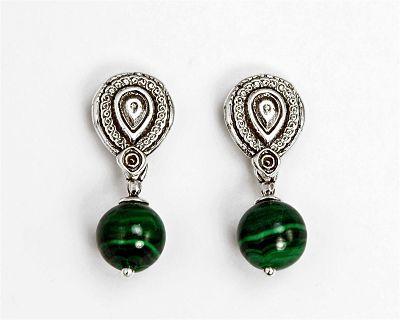 Malachite Dangle Post Earrings
