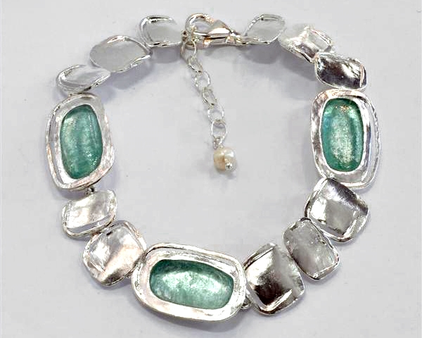 Roman Glass Rectangles Bracelet