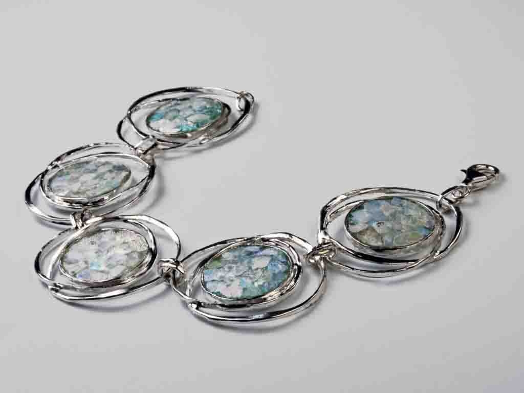 Intertwined Circle Roman Glass Sterling Silver Bracelet
