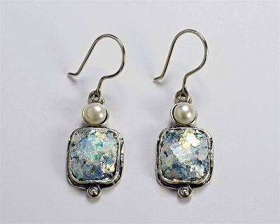 Roman Glass Rectangle Earrings with Pearl on Top