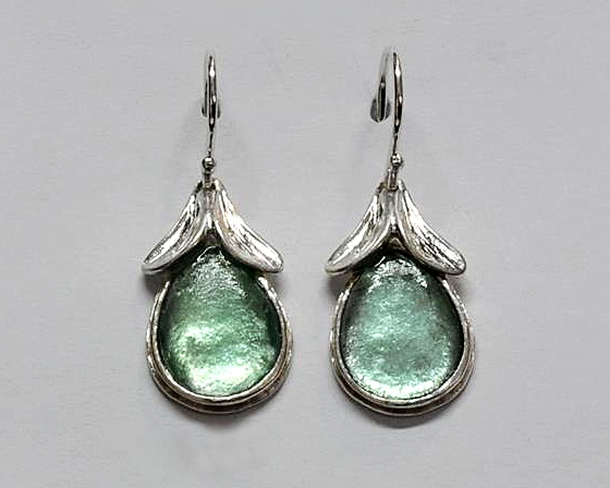 Roman Glass Top Leaves Earrings