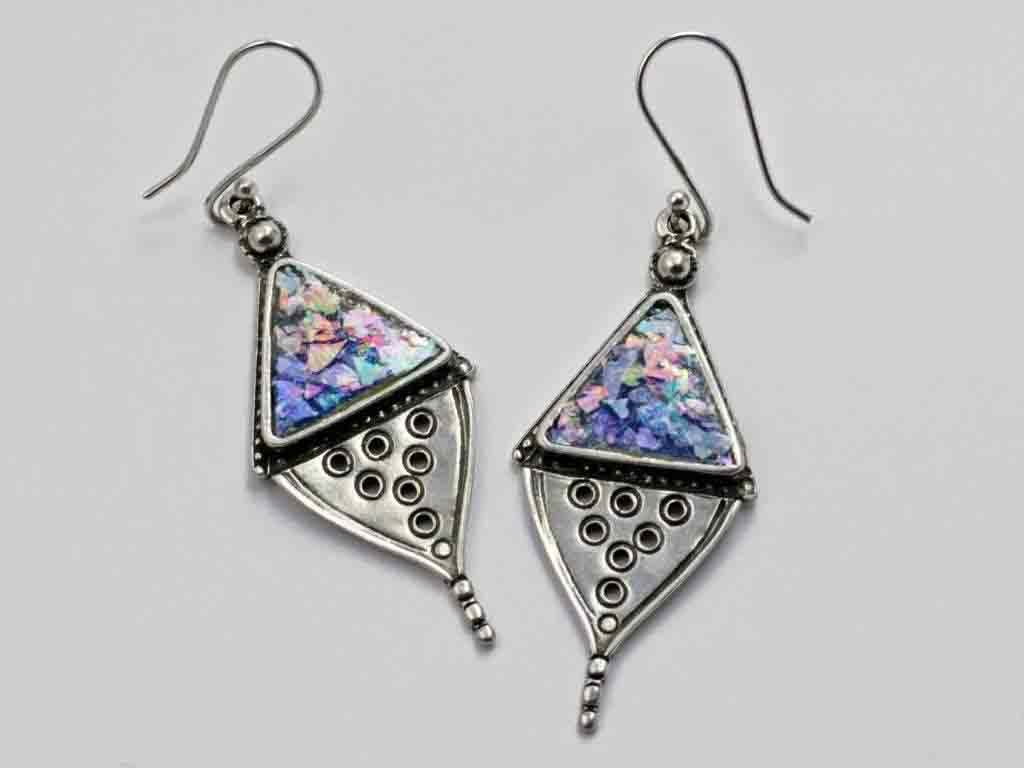 Diamond Shaped Earrings with Triangle Roman Glass