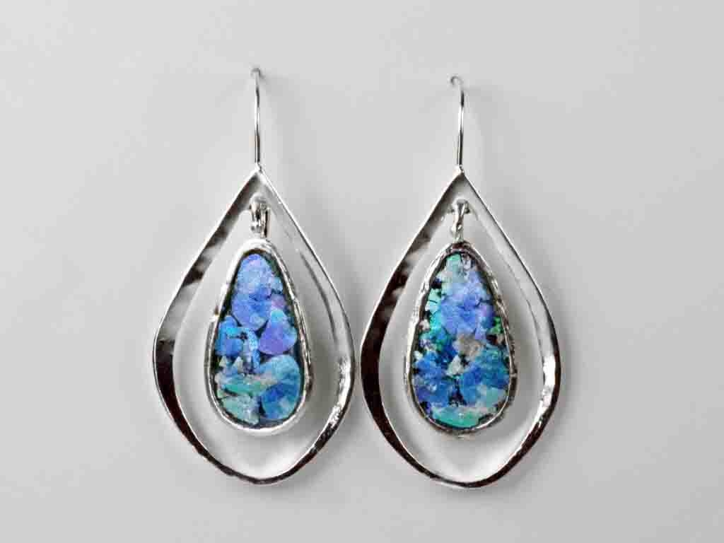 Tear Drop Roman Glass Earrings with Patina
