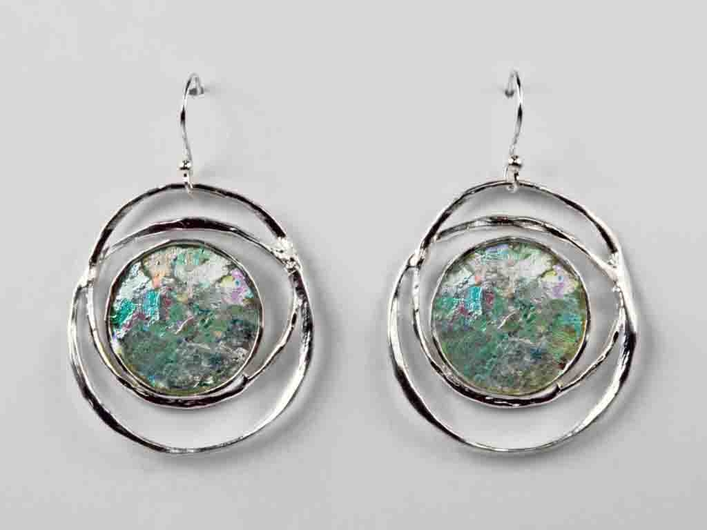 Large Intertwined Circle Roman Glass Earrings with Patina
