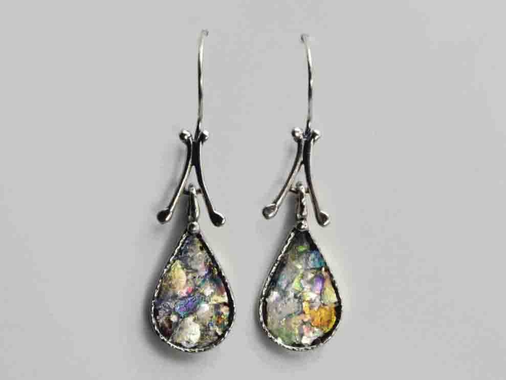 Tear Drop Roman Glass Earrings