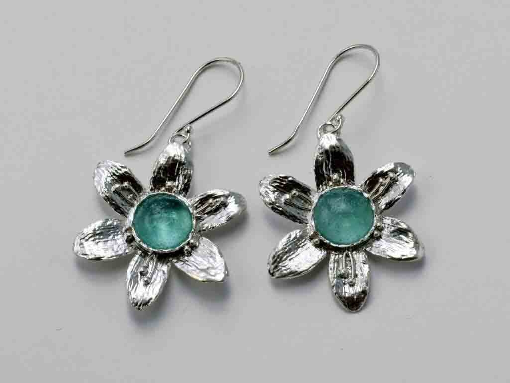 Flower Roman Glass Earrings