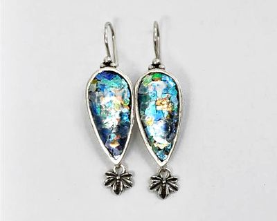 Roman Glass Earrings with Flower Bangle