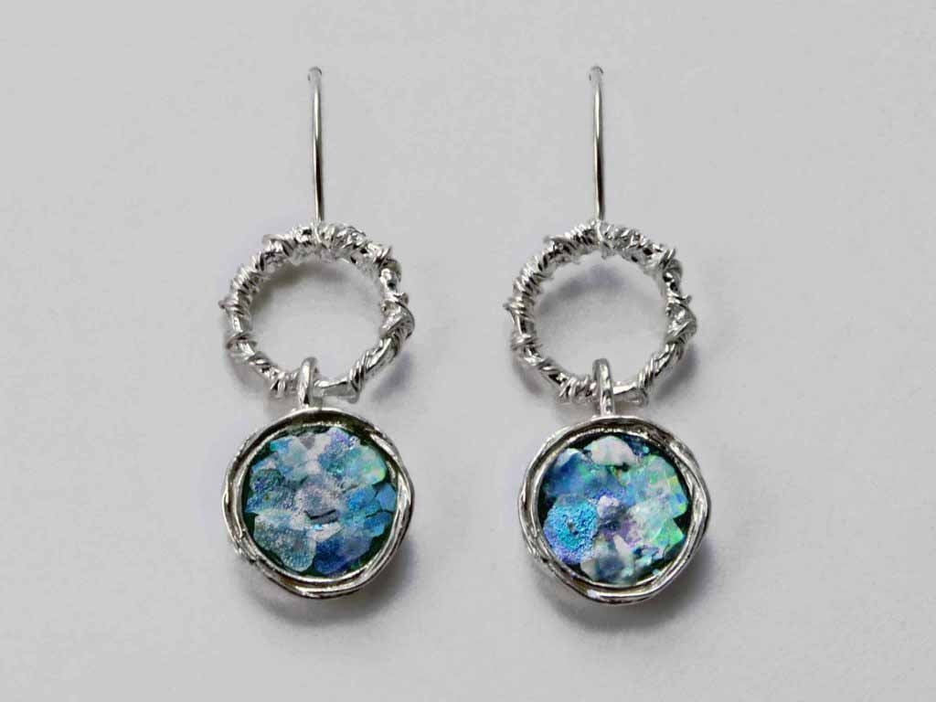 Roman Glass Hanging Circles Earrings