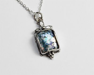 Roman Glass Small Rectangle Necklace