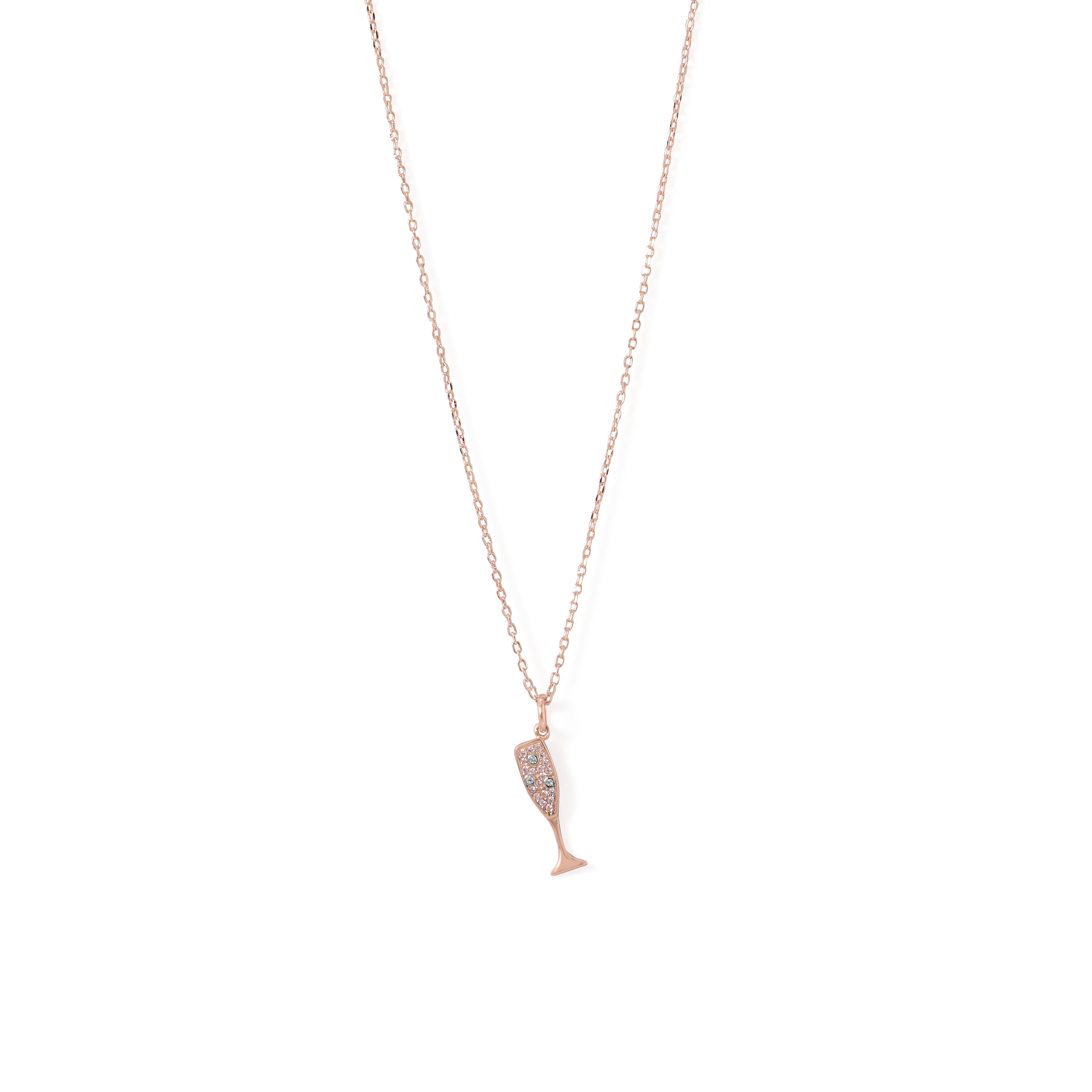 14 Karat Rose Gold Plated CZ Champagne Glass Charm Necklace