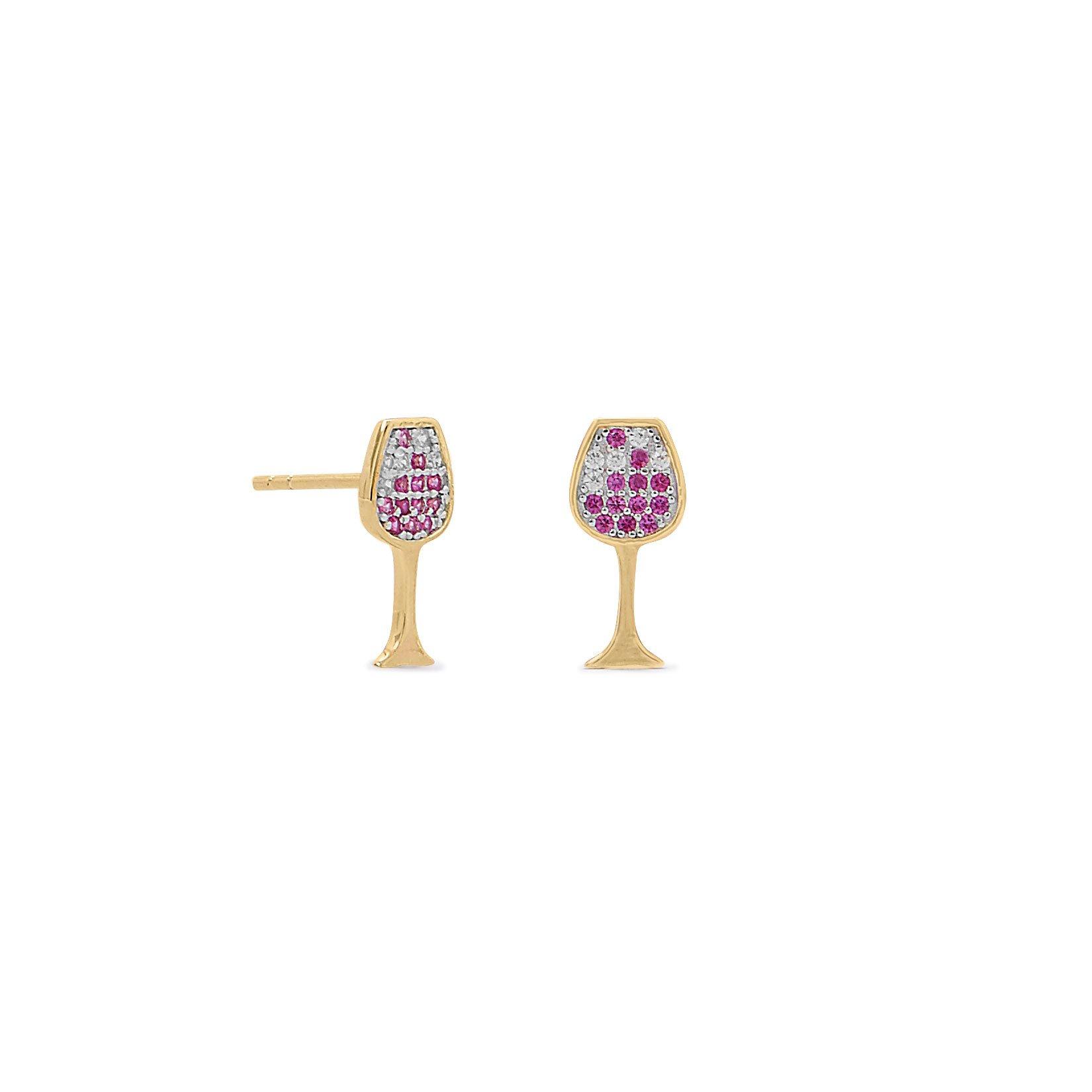 14 Karat Gold Plated CZ Red Wine Glass Stud Earrings