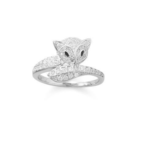 Rhodium Plated Cute Fox CZ Ring