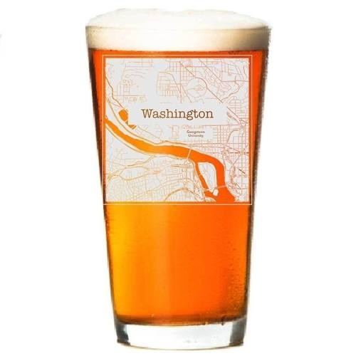 College Town Etched Map Beer Glasses (Sets of 2)