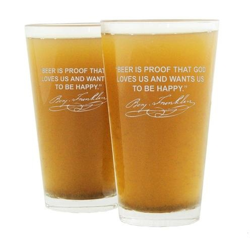 Famous Beer Quotes Personalized Beer Pint Glasses (Set of 2)