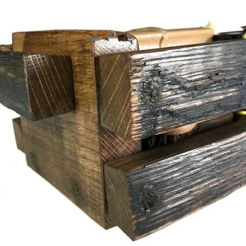 Reclaimed Bourbon Barrel Stave Basket Shoe Shine Kit