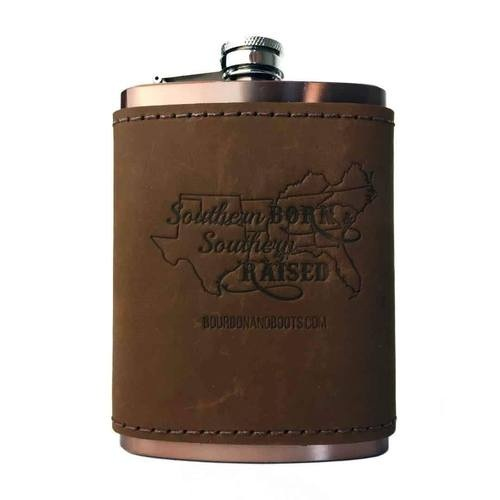 Southern Inspired Copper Flask With Leather Sleeve