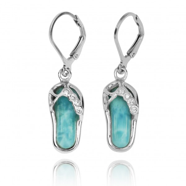Sterling Silver Sandal Lobster Clasp Earrings with Larimar and Crystal