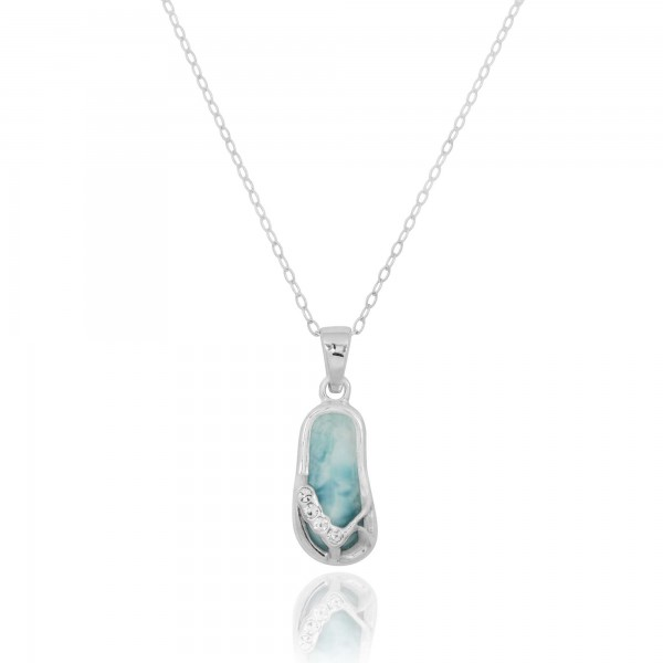 Sterling Silver Sandals with Larimar and Crystal Pendant