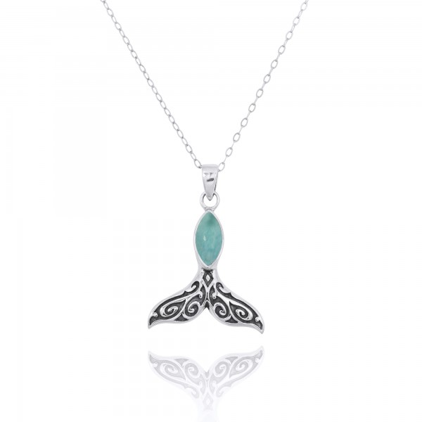 Sterling Silver Whale Tail Pendant with Marquise Larimar
