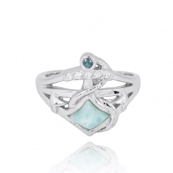 Sterling Silver Anchor Ring with London Blue Topaz and White CZ