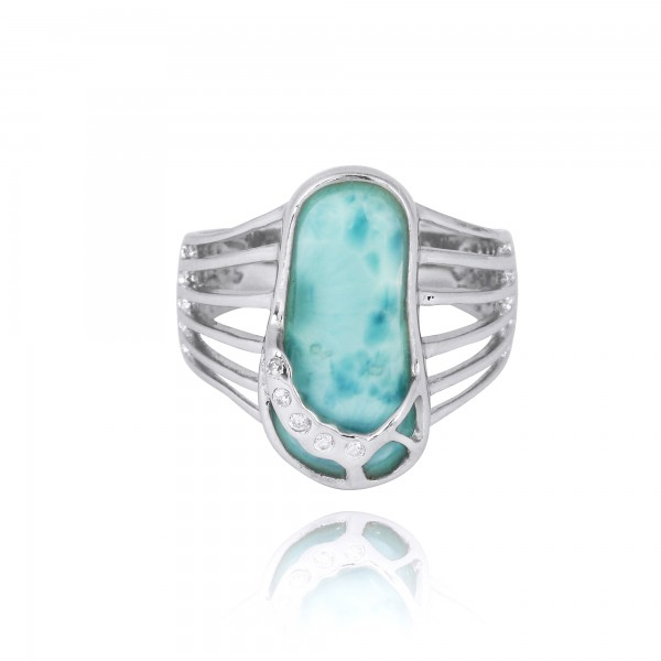 Larimar Sandal Sterling Silver Ring with White CZ