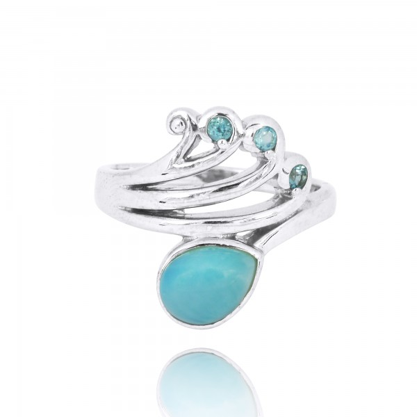 Sterling Silver Wave Ring with Swiss Blue Topaz Crests and Pear Shape Larimar