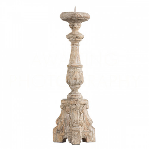 San Lorenzo Rustic Wood Candlestick