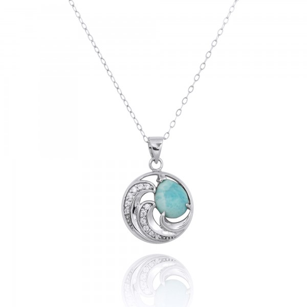 Sterling Silver Wave Pendants with Larimar and White CZ
