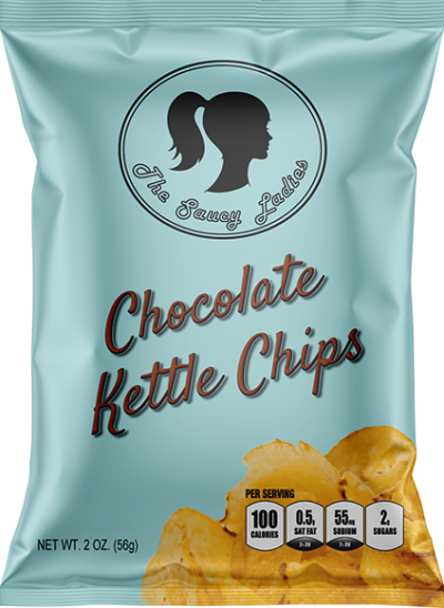 Saucy Ladies Kettle Chips Variety Pack -- Six 2 oz bags.