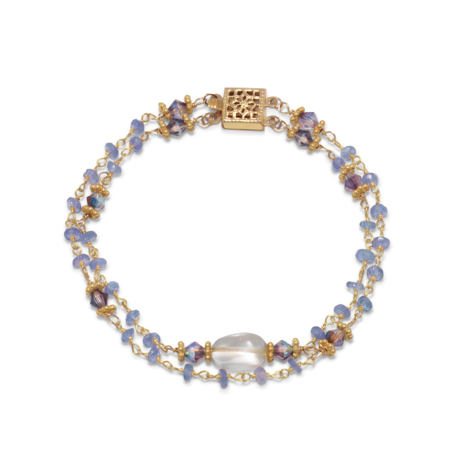 14 Karat Gold Plated Double Strand Tanzanite and Citrine Bracelet