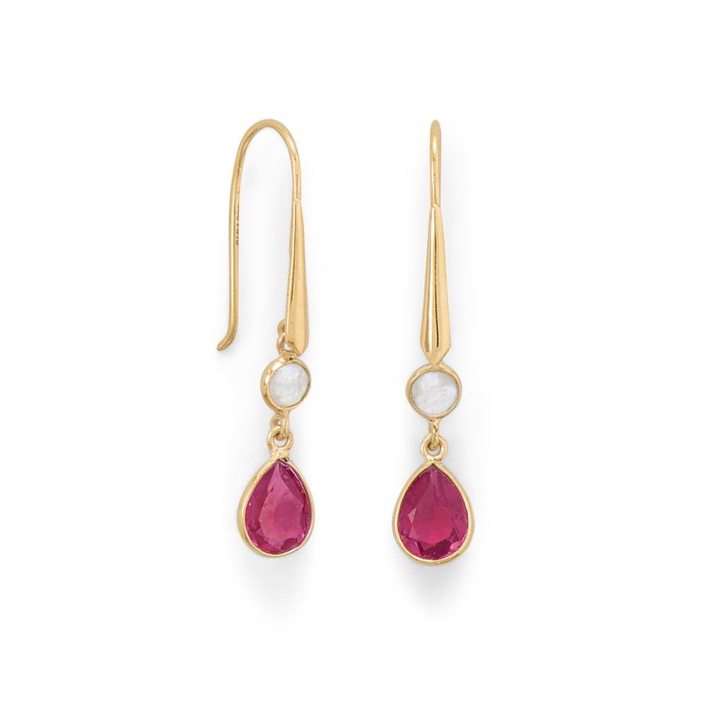 14 Karat Gold Plated Rainbow Moonstone and Pink Glass Drop Earrings