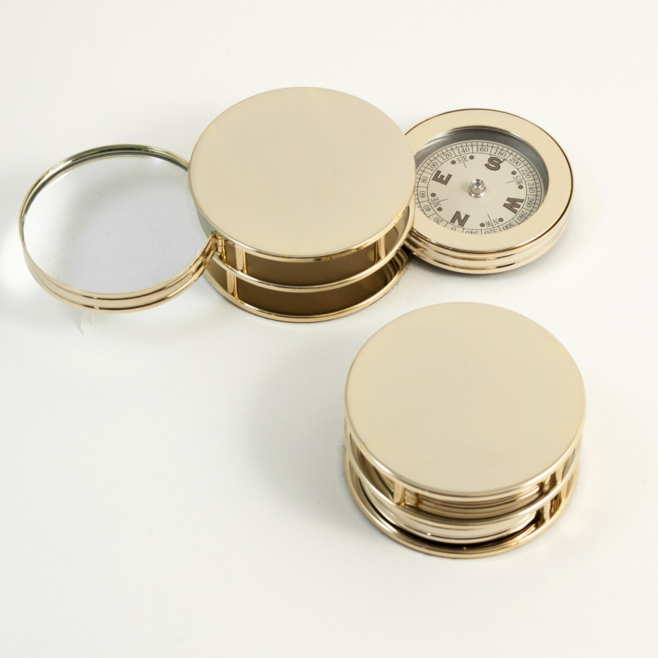 Gold Plated Paper Weight with Compass and Magnifier
